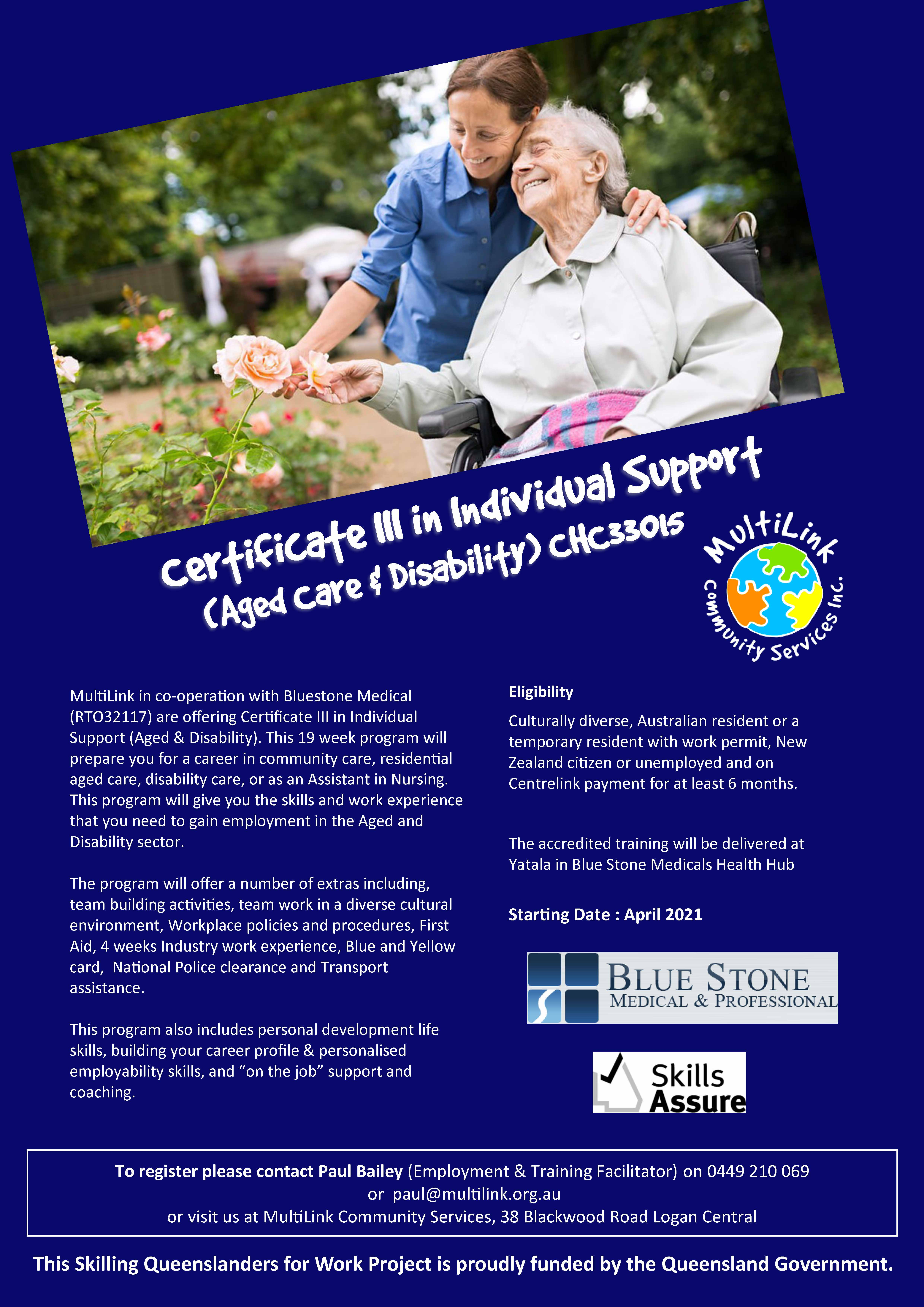 Flyer for Cert II Individual Support (Aged Care and Disability)